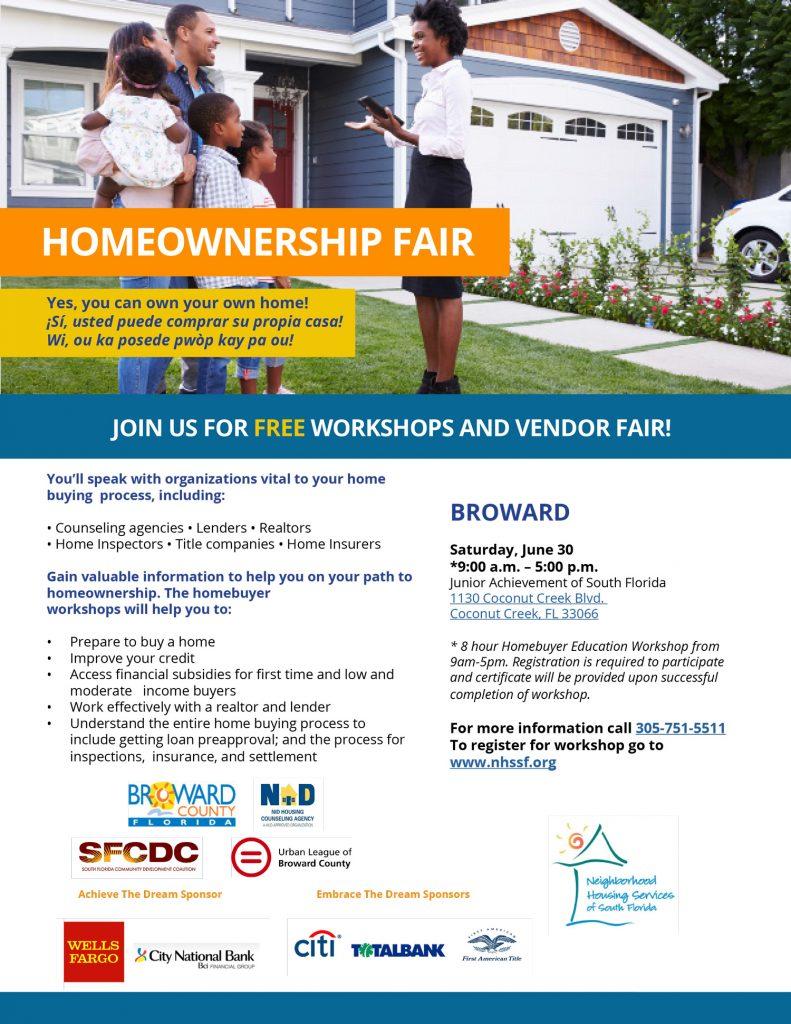 NHSSF Homeownership Fair in Broward flyer