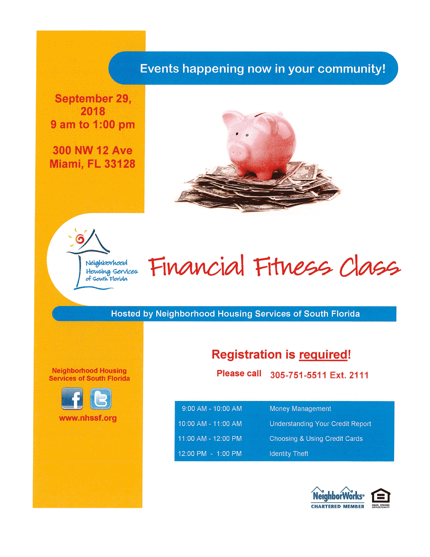 Flyer for Miami-Dade Financial Fitness Class held on September 29, 2018
