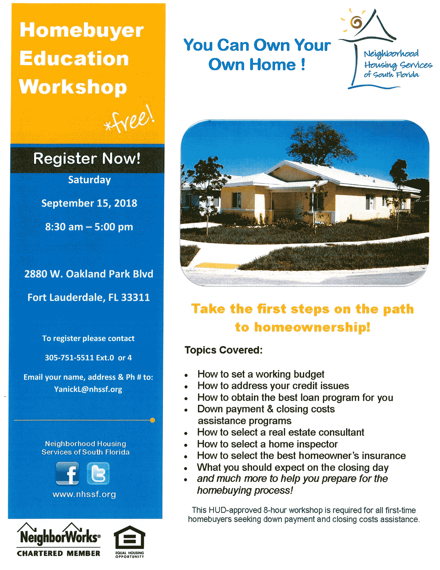 flyer for Homebuyer Education Workshop in Broward 9-15-18