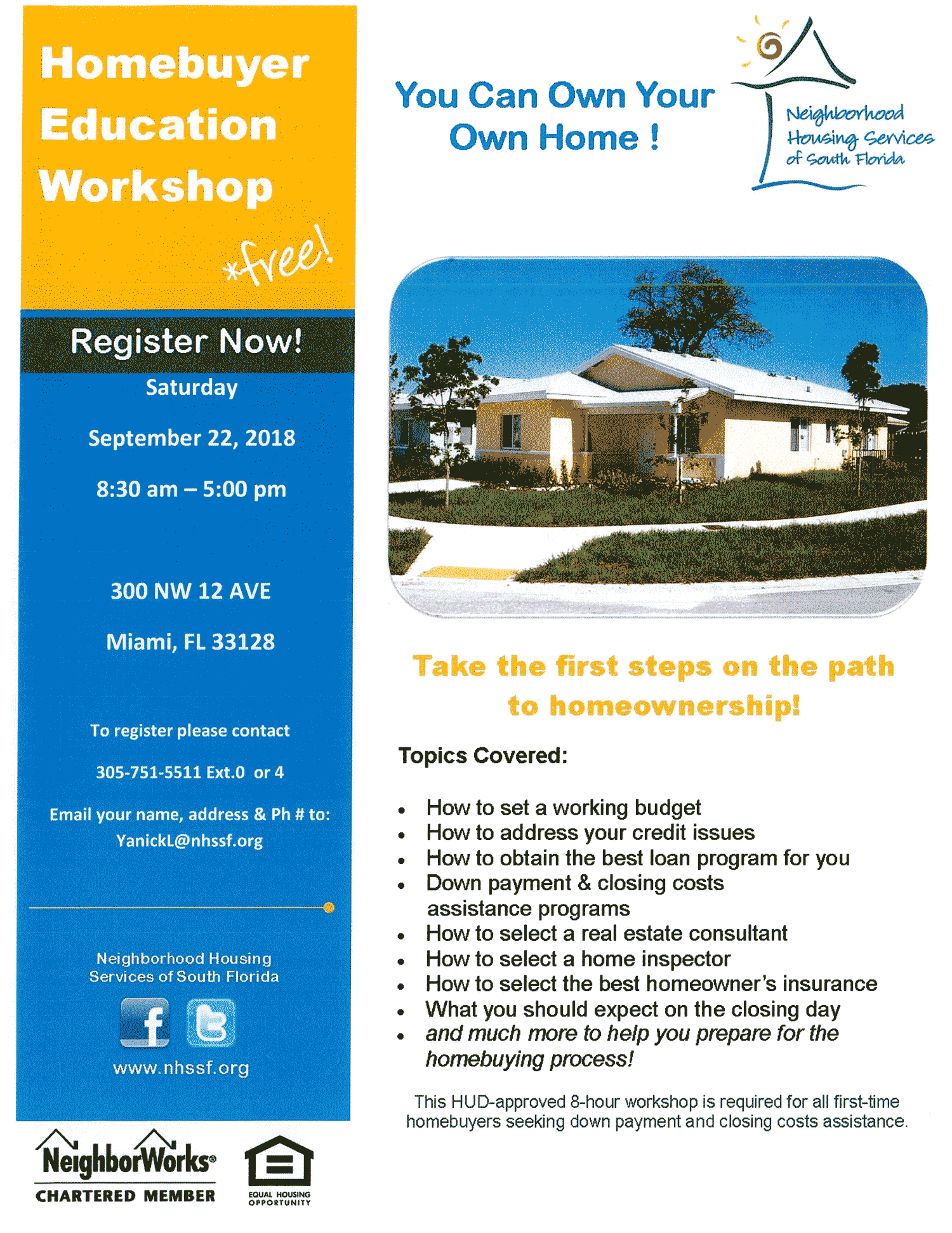 flyer for Homebuyer Education Workshop in Miami-Dade on 9-22-18