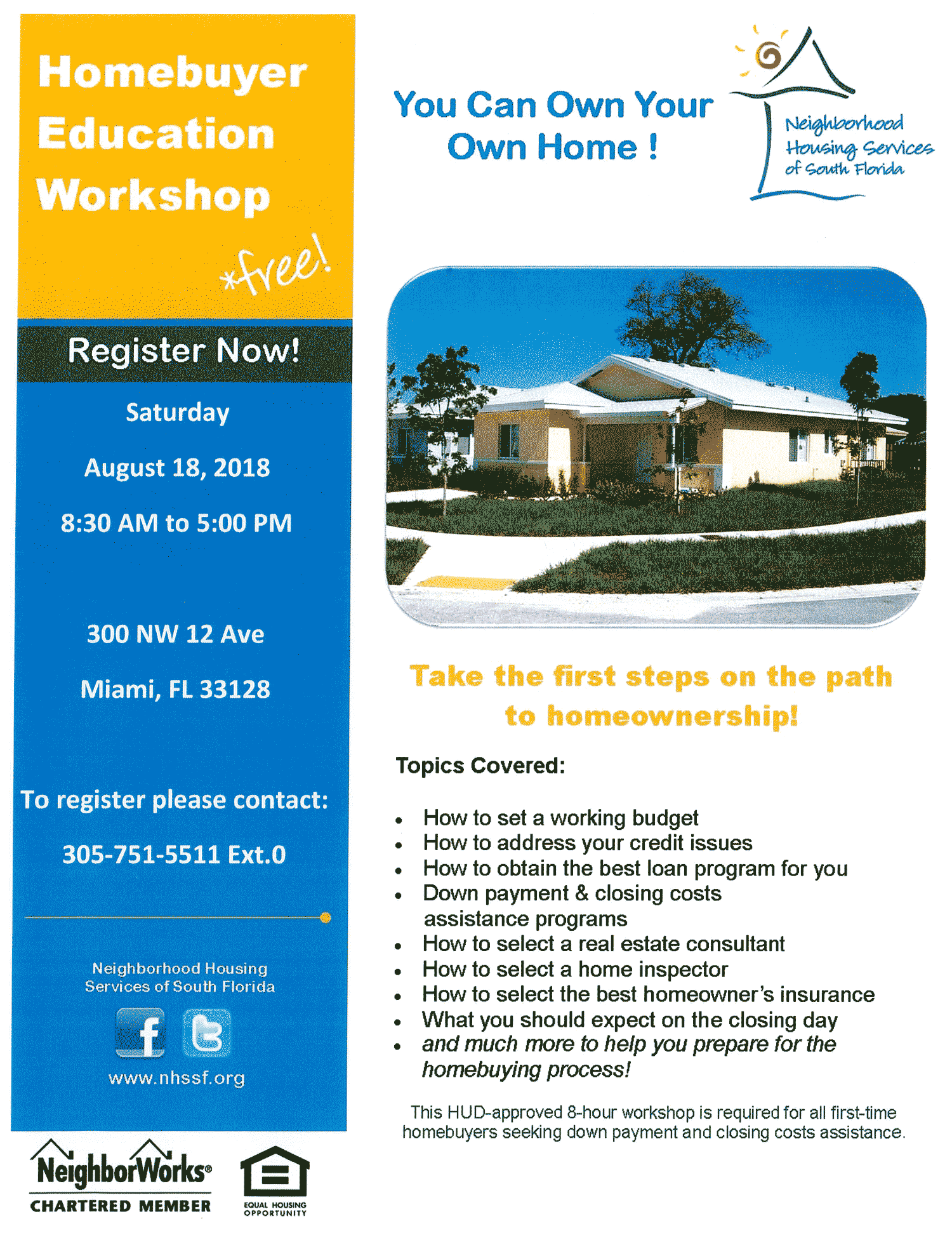 flyer for Miami-Dade Homebuyer Education Workshop Saturday August 18, 2018