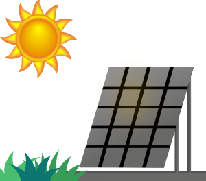 illustration of a solar panel collecting energy from the sun