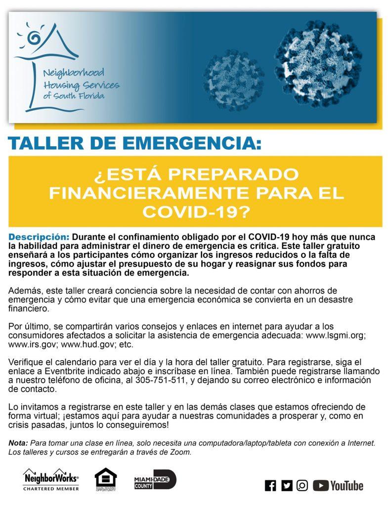Taller de emergencia: ¿Está preparado financieramente para el COVID-19?