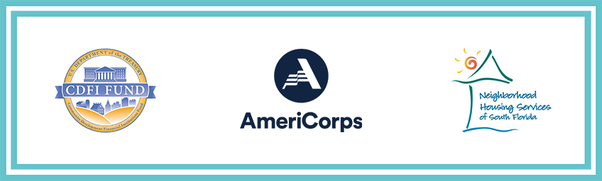 graphic featuring the CDFI, Americorps and NHSSF logos